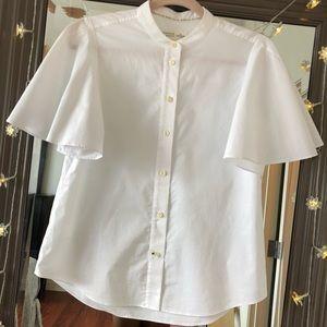 Kate Spade White Pronounced Sleeve Button Blouse